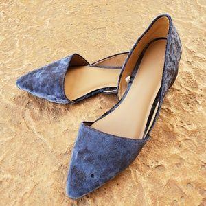 ana Blue Crushed Velvet D'Orsay Flats 11